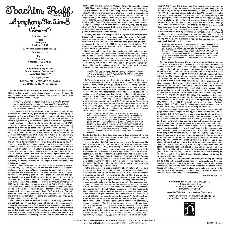 Bernard Herrmann, Joachim Raff, Nonesuch Records
