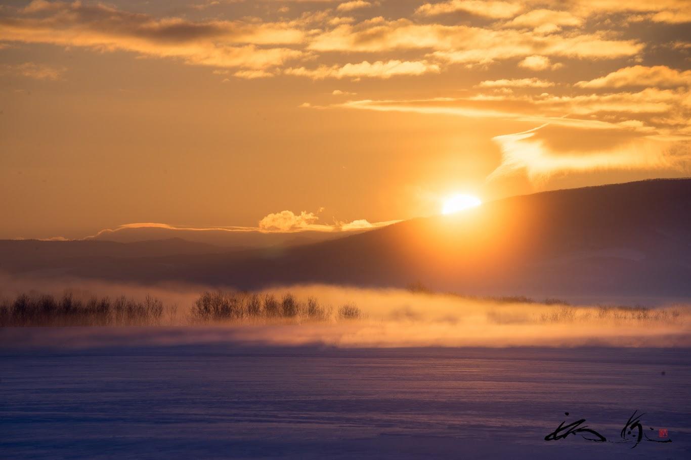 神々しい黄金の朝陽