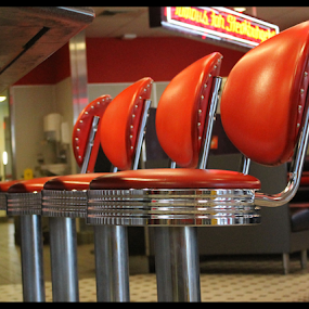 RED by Patti Westberry - Artistic Objects Business Objects ( diner seating, red, red stools, seattlng, stools,  )