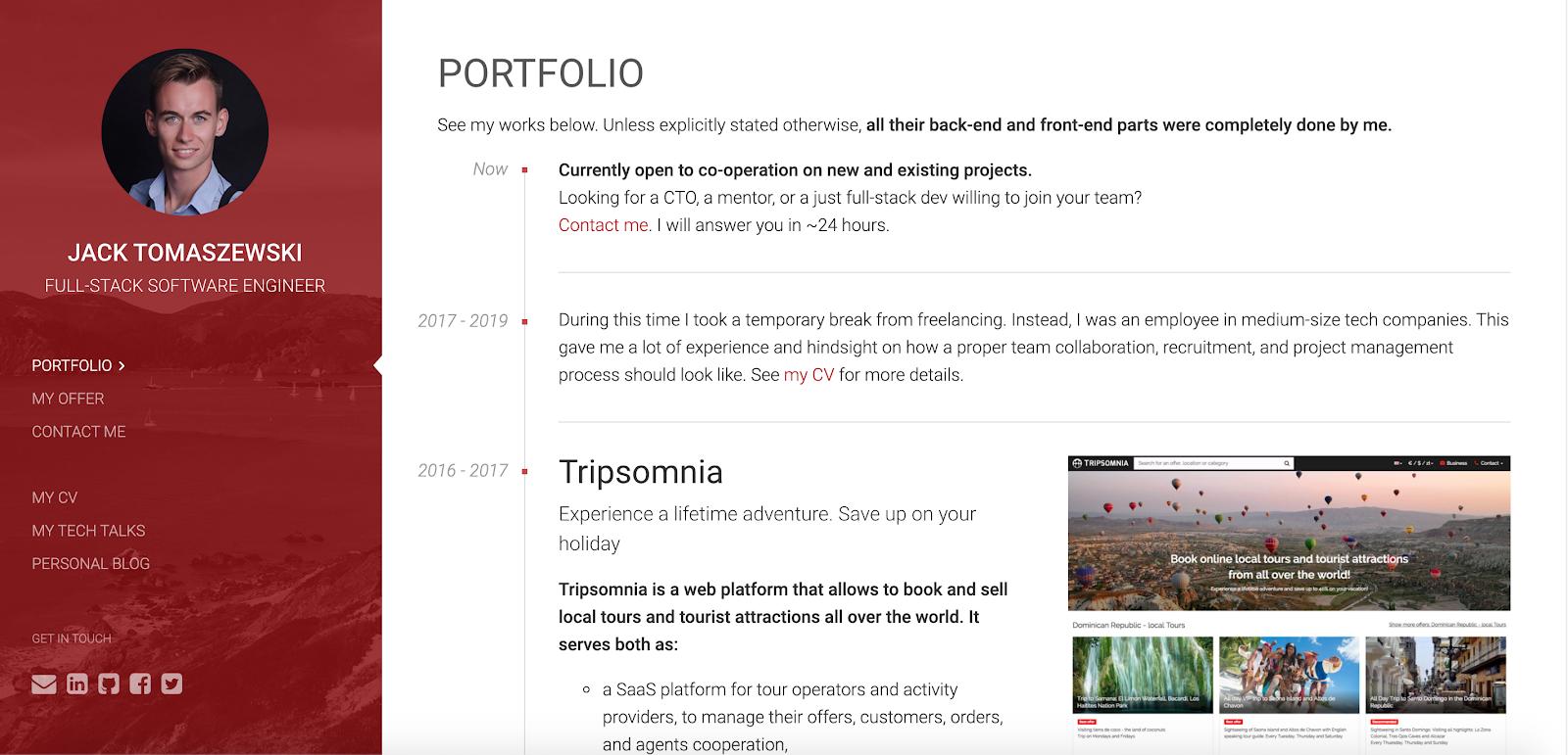 Web Developer Portfolio of Jack Tomaszewski