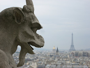 Photo: Notre Dame Gargoyle and Eiffel Tower in background