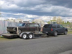 Photo: Loaded up and ready to go.  Corvair Buddy Joe Phillips joined in the recovery adventure and brought his fantastic GMC Yukon Denali and dual axle trailer.  Thanks Joe!!