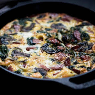 Smoked Sausage Frittata Recipe with Spinach & Mushroom.