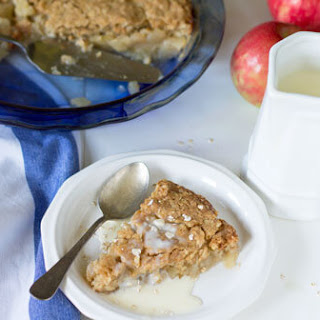 Swedish Apple Oatmeal Pie with Vanilla Sauce.