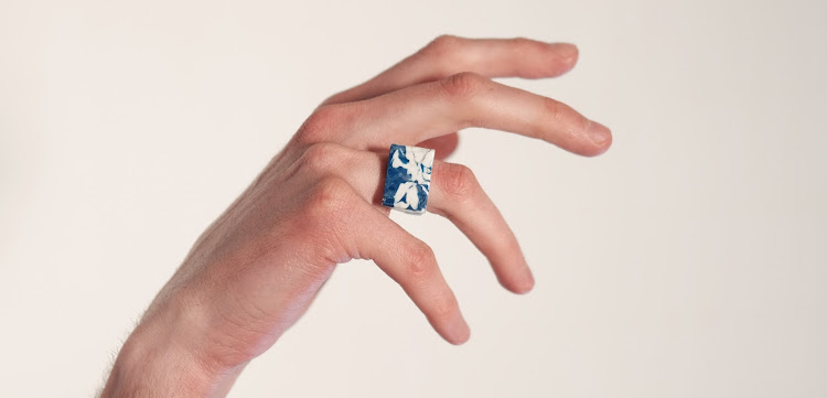 Designer Matthew Edwards fashioned this recycled marble-like ring from the high-density polyethylene (HDPE) used to make plastic containers and bottles.