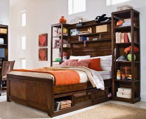 Modern Children's Bedroom Headboard Storage