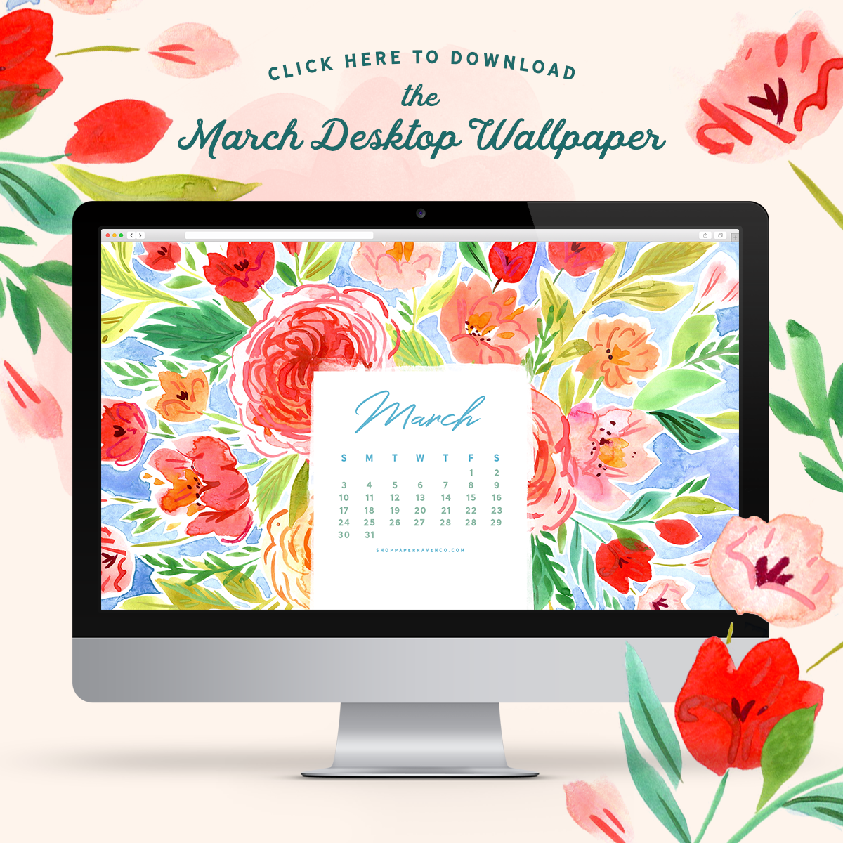 March 2019 Illustrated Desktop Wallpaper by Paper Raven Co.  |  www.ShopPaperRavenCo.com #dressyourtech #desktopwallpaper