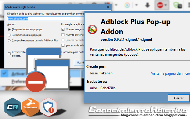 Adblock Plus Popup-Addon 0.2.7, EN. Adblock Plus Pop-up Addon is an Adblock Plus extension which extends the blocking functionality to pop-up windows and pop-up tabs.