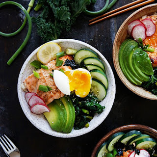 Grilled Salmon Bowls with Garlic Scapes and Kale.