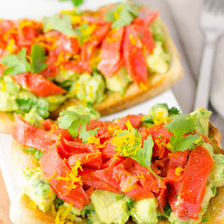 Open-Face Smoked Salmon and Avocado Sandwich.