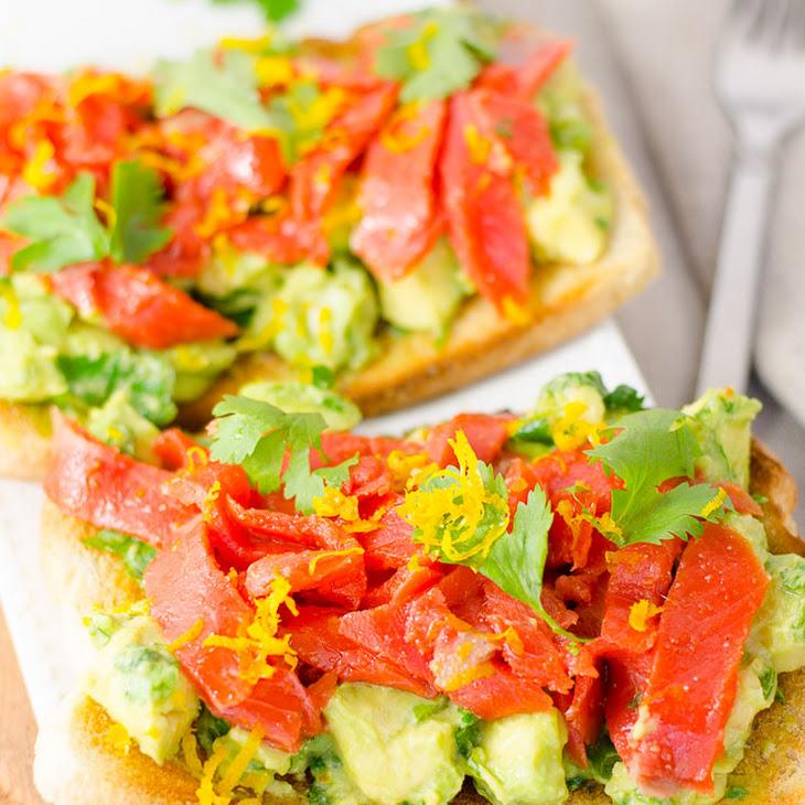 Open-Face Smoked Salmon and Avocado Sandwich
