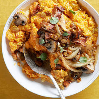 Mashed Sweet Potatoes with Mushrooms and Bacon.