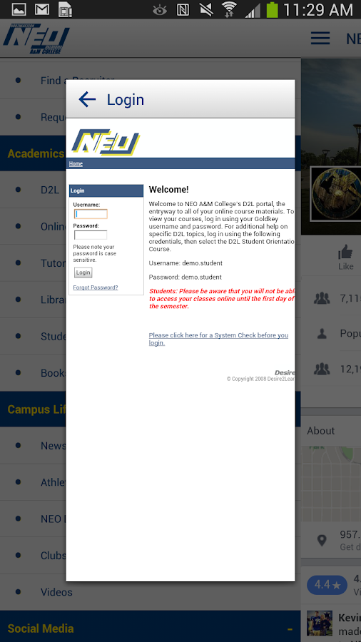 NEO A&M College- screenshot