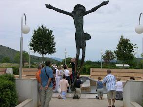 Photo: Major pilgrimage site, Medjugorje. Fluid weeps from Jesus' knee