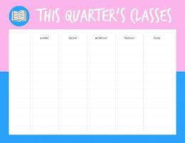 Quarter Class Schedule - Class Schedule item