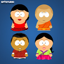 Photo: Traditional costumes from around the world: traje de flamenca (from Spain)     gho (from Bhutan)     kasaya (robe of Buddhist monks)     hanbok (from Korea)