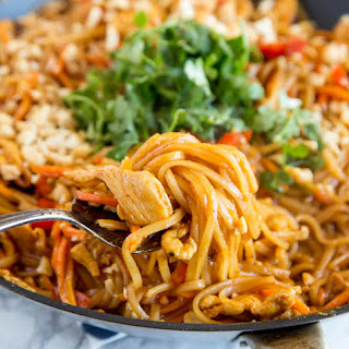 Spicy Thai Noodles with Chicken.