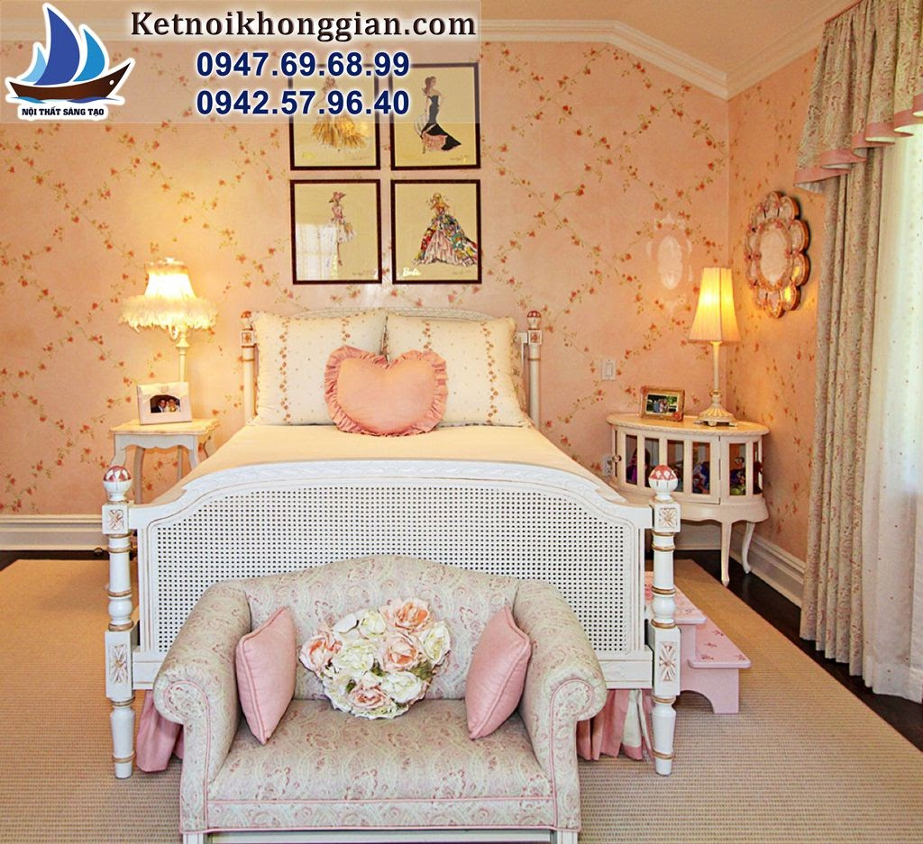thiết kế phòng bé gái phong cách thanh lịch
