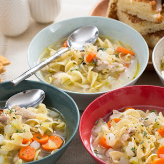 Chicken Noodle Soup with Grilled Cheese Sandwiches