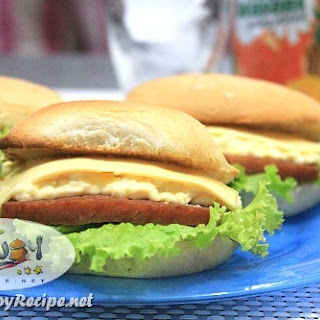 Spam Egg Salad and Cheese Pandesal Sandwich.