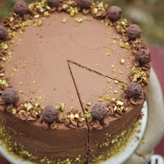 Black Truffle-Pistachio Chocolate Cake