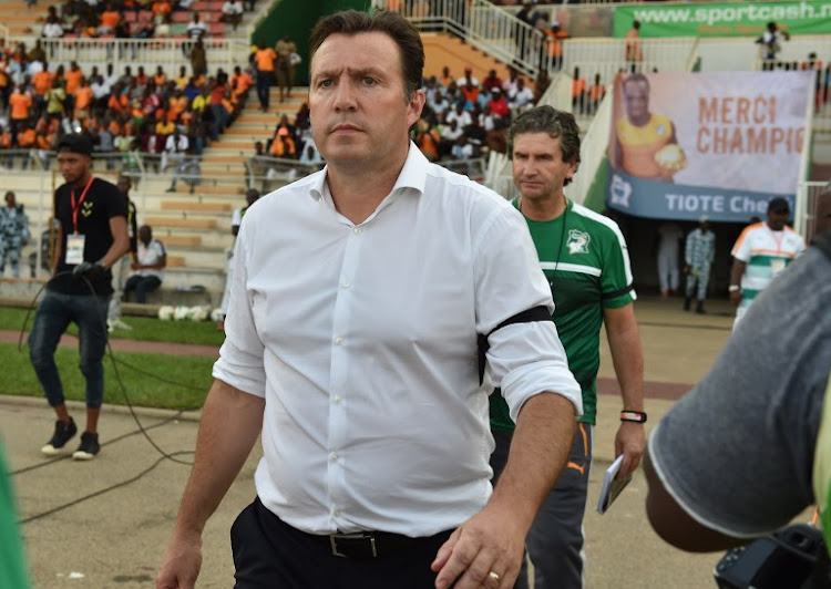 Ivory Coast's head coach Marc Wilmots reacts during the 2019 Africa Cup of Nations qualifying football match between Ivory Coast and Guinea at the Stade de la Paix in Bouake, on June 10, 2017.