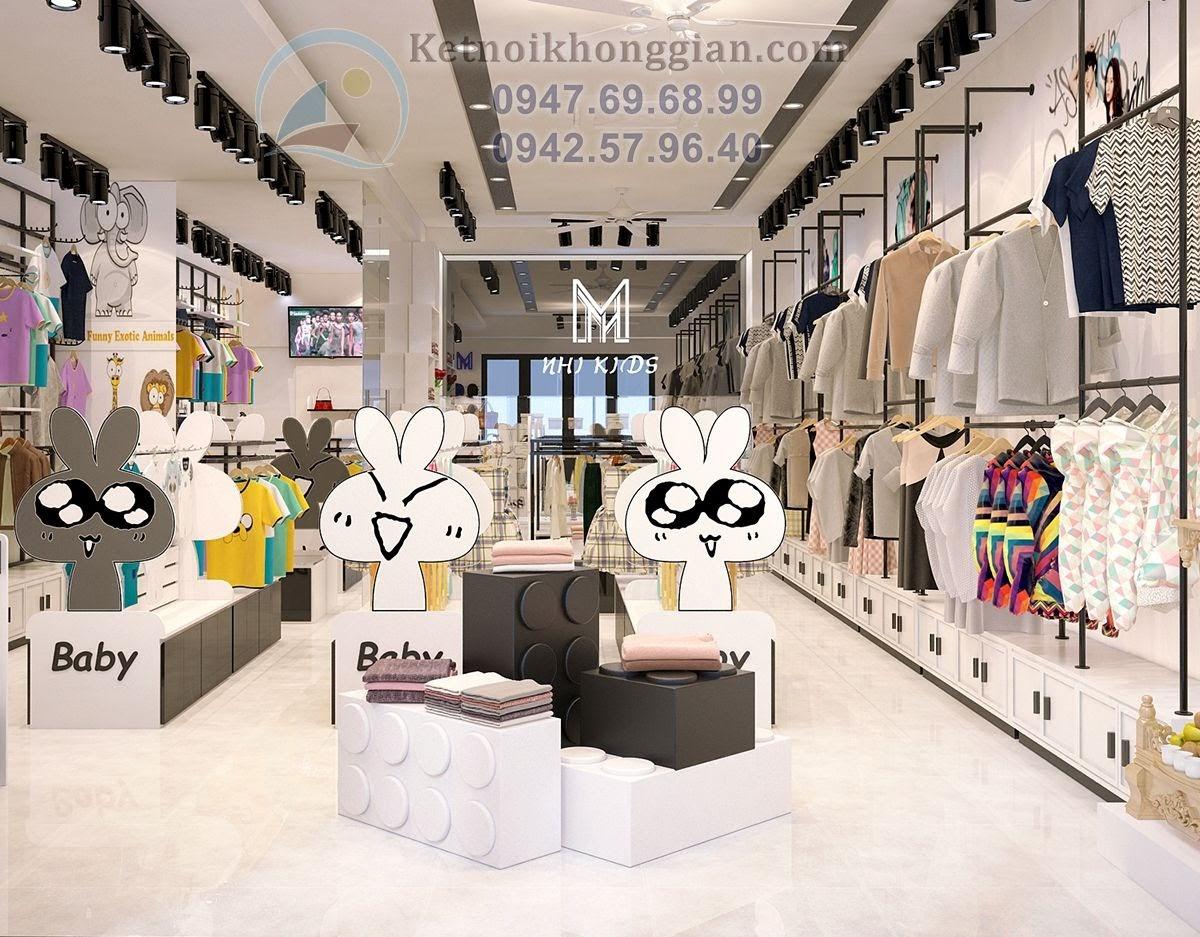 thiết kế shop thời trang trẻ em tinh nghịch