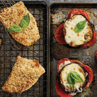 Chicken Parmesan with Cheesy Eggplant Stacks.