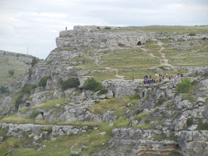 Photo: The cliff opposite Matera, where we had climbed the previous afternoon. There was also a way to get up there by car or bus, and a lot of people went to see the view that way rather than by climbing cliffs like we had.