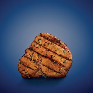 Basil-Garlic Porterhouse Pork Chops.