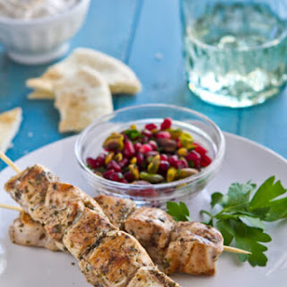 Baharat Chicken Skewers with Pomegranate Relish.