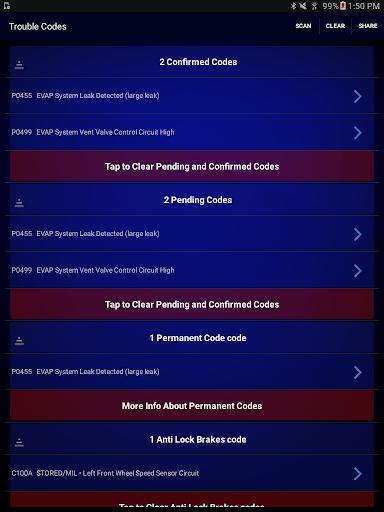 BlueDriver OBD2 Scan Tool Screenshot