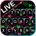 Shiny Neon Hearts Keyboard Theme icon