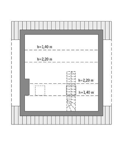 Miarodajny - wariant IX - C333i - Rzut poddasza do indywidualnej adaptacji (20,3 m2 powierzchni użytkowej)