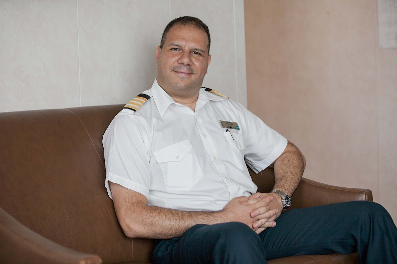 Marios Georgiadis, hotel director of Celebrity Infinity, in his office on the ship.