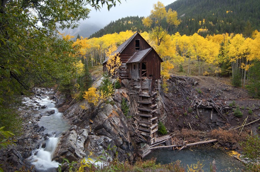 CRYSTAL MILL by Alabama Photos - Landscapes Mountains & Hills ( crystal mill, fall, colorado, pwcautumn, rockies, aspens )