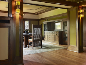 Photo: Interior, George and Delta Barton House, Buffalo, N.Y., designed by Frank Lloyd Wright, built 1903-4 [photo: Biff Henrich/Keystone]. The Barton House is part of the Martin House Complex. Delta Barton was Darwin Martin's sister.