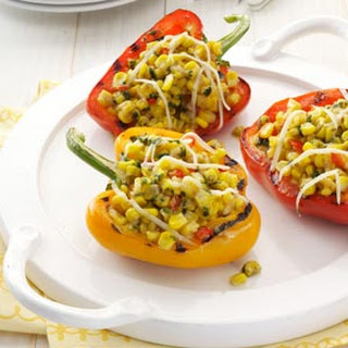 Pesto-Corn Grilled Peppers