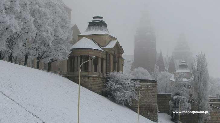 Zimno śniegi w mieście