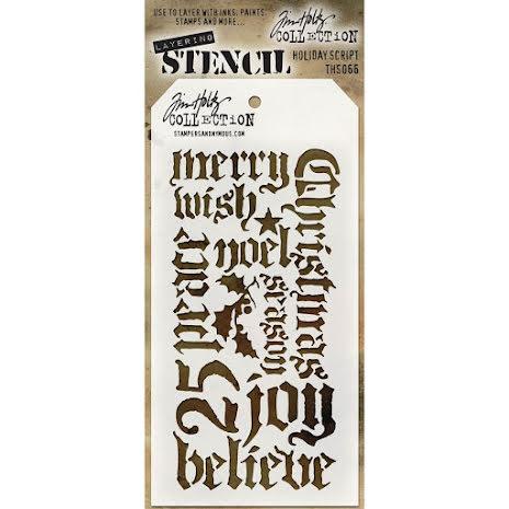 Tim Holtz Layered Stencil 4.125X8.5 - Holiday Script