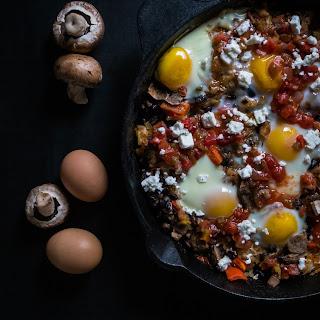 Salsa, Hash Brown + Sausage Egg Skillet