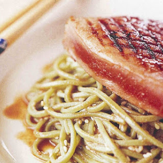 Sweet Soy Tuna With Green Tea Noodles.