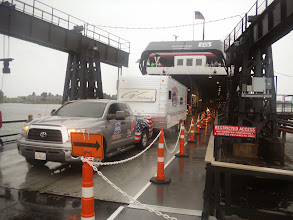 Photo: Day 40 Manitowoc to Ludington MI  Our pickup and RV being unloaded from Ferry in Ludington MI