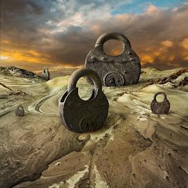 Locked Dunes by Dariusz Klimczak - Digital Art Places ( surreal, sand, square, dunes, fantasy, color, dream, surrealism, lock, photomanipulation, artphoto, desert )