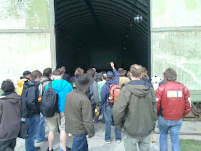 Photo: crowd outside lecture bunker