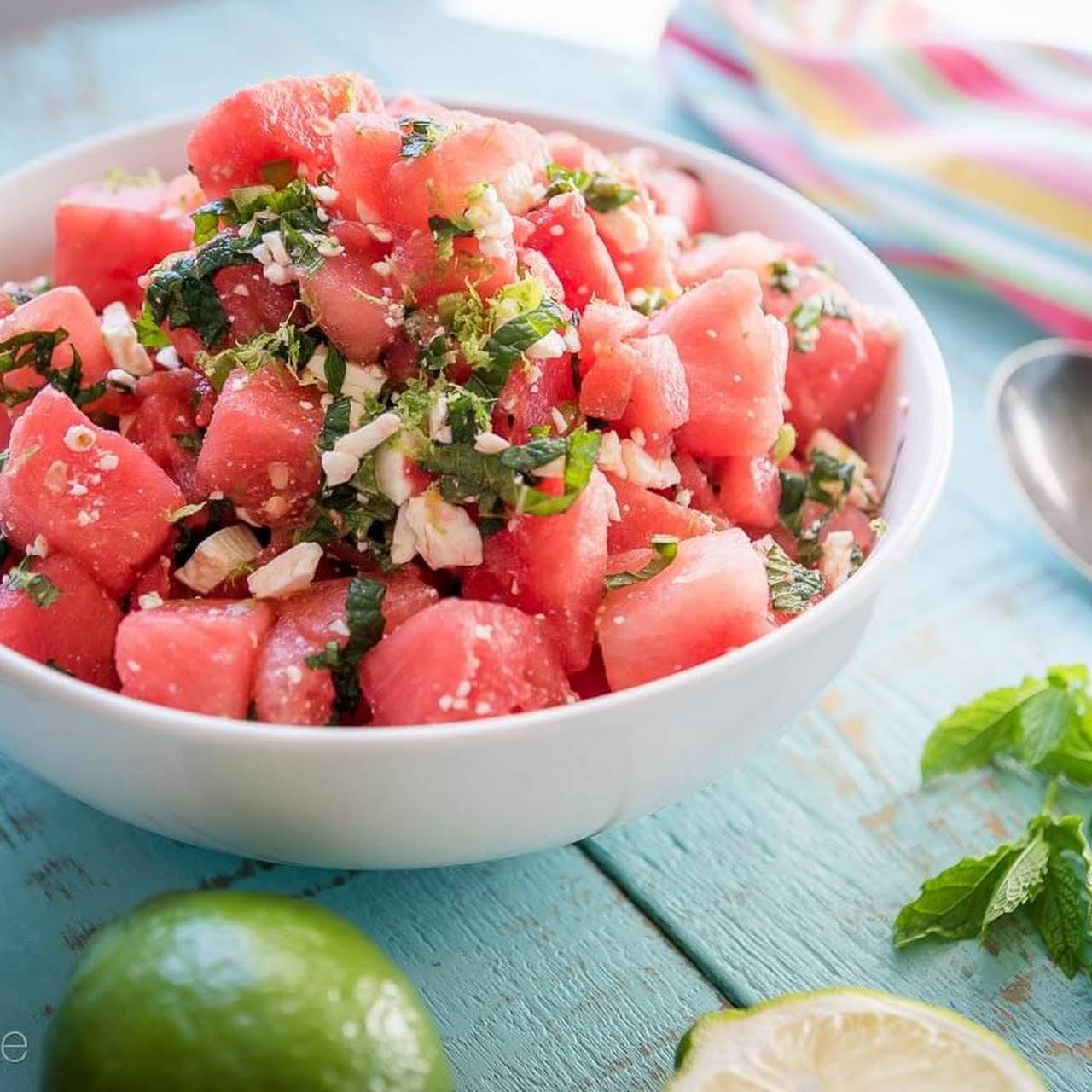 Watermelon Salad  considering Feta and Jalapeños