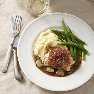 Prosciutto-Wrapped Chicken with Mushroom Marsala Sauce.