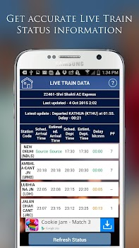 Indian Rail IRCTC PNR, Train Running Status Info