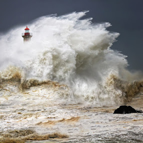 enduring the elements by Malinov Photography - Travel Locations Landmarks ( huge, waves, lighthouse, power, ocean, force, big, storm )