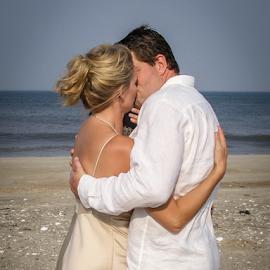 by Myra Brizendine Wilson - Wedding Bride & Groom ( bride, couple, groom, wedding on beach, outerbanks, sand, ocean, bride and groom, nc, outer banks, beach, wedding, wedding on pee island,  )